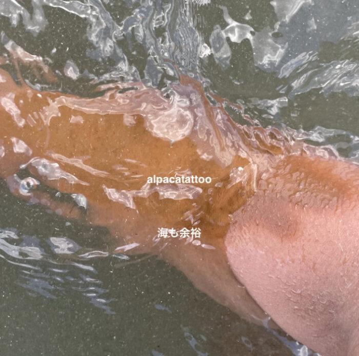 カクシスの耐水性テスト中。このあと海で5時間、お風呂、翌日温泉入ったけど問題なし。  『全員買わないと損!』在庫切れ続出のタトゥー隠しファンデーションスプレー「カクシス」がどれだけ凄かったのか?画像で分かりやすく解説。本当にタトゥーを隠しても人にバレないのか?そのほか耐久性、耐水性、海でプールで温泉で遊んでも剥がれないのか?2色が推奨される理由や使い方から簡単な除去方法も紹介しています。